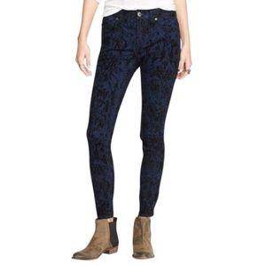 FP Indigo Black Velvet Snake Skin Print Jeans